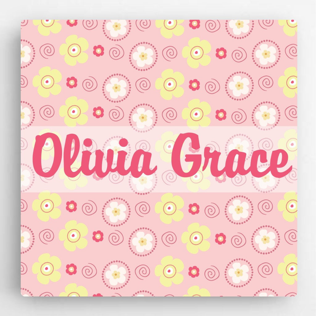 Swirls & Flowers Canvas Sign - Girl - Personalized