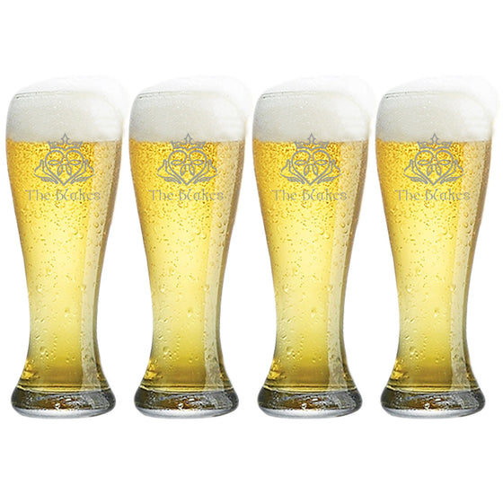 Claddagh Pilsner Beer Glasses ~ Personalized