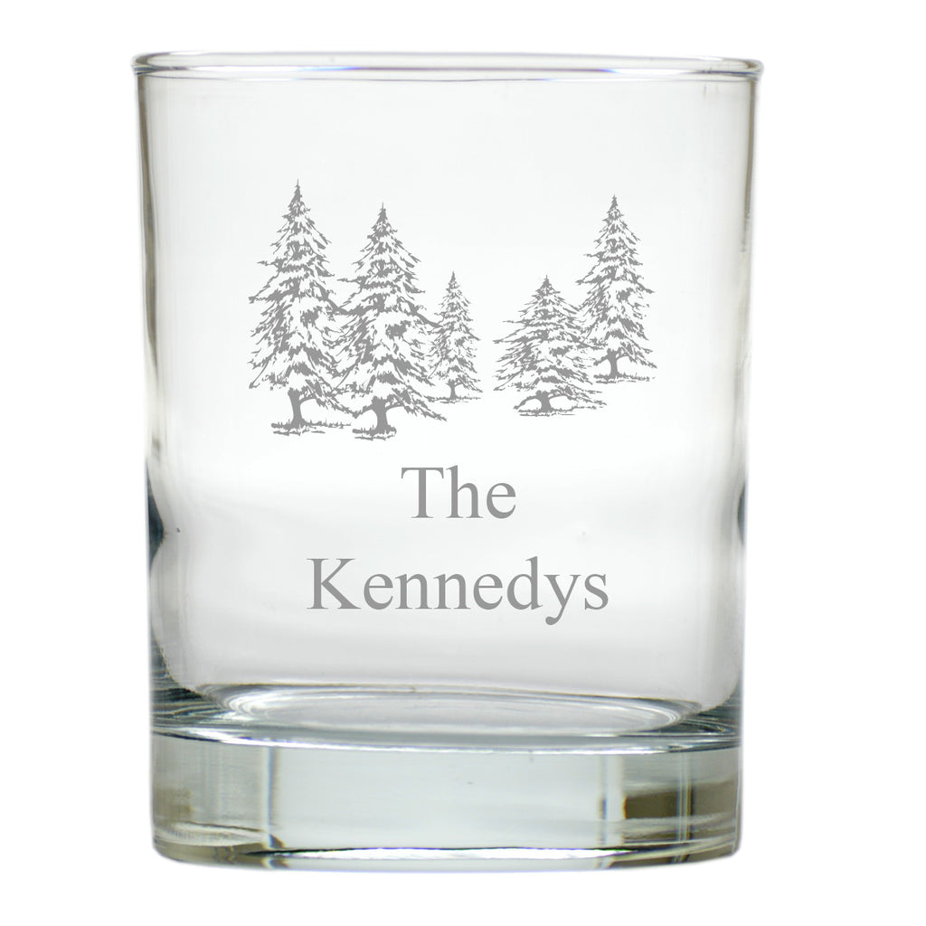Pine Trees Double Old Fashioned Glasses ~ Personalized ~ Set of 6