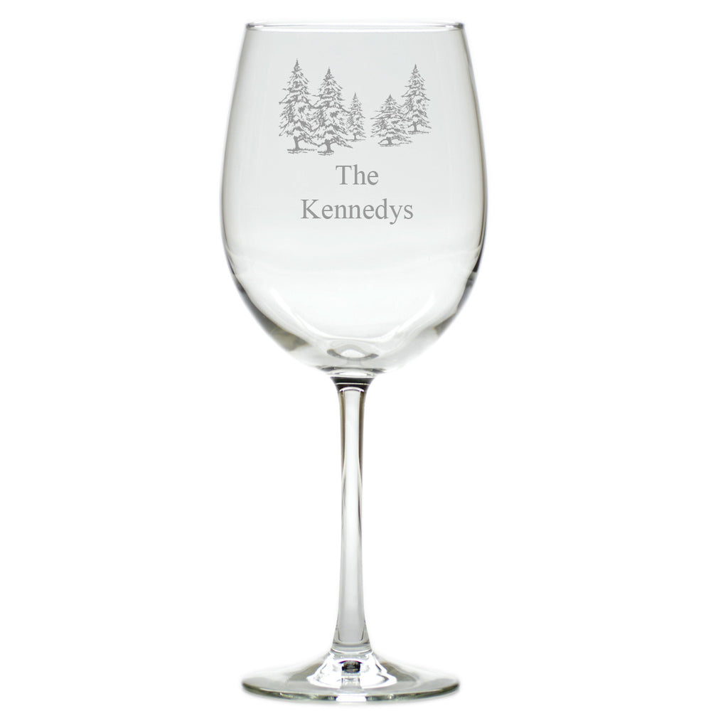 Pine Trees Wine Glasses ~ Personalized ~ Set of 4