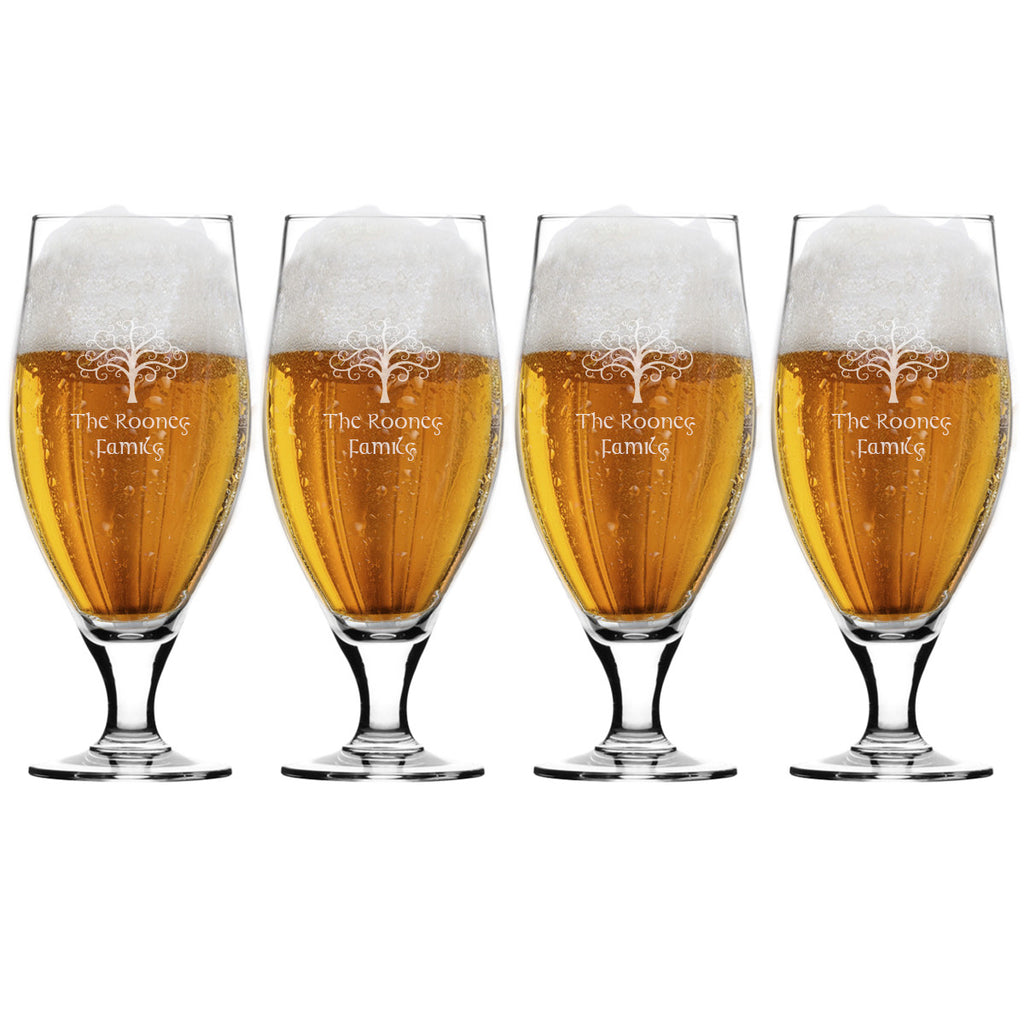 Tree of Life Cervoise Beer Glasses ~ Personalized