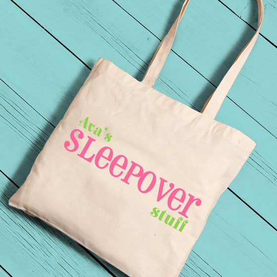 Sleepover Canvas Tote ~ Personalized