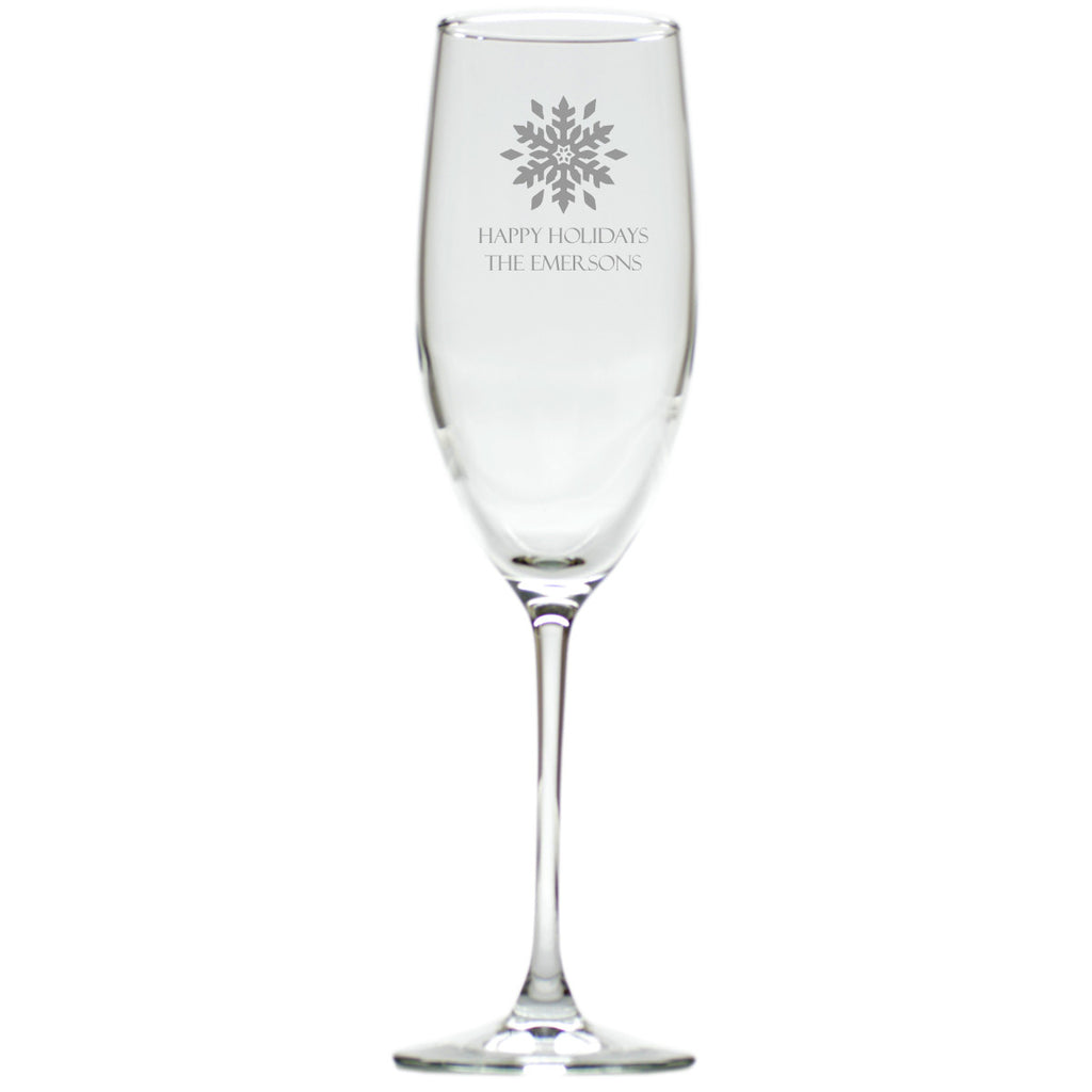 Snowflake Champagne Glasses ~ Personalized ~ Set of 4