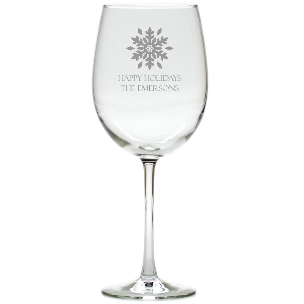 Snowflake Wine Glasses ~ Personalized