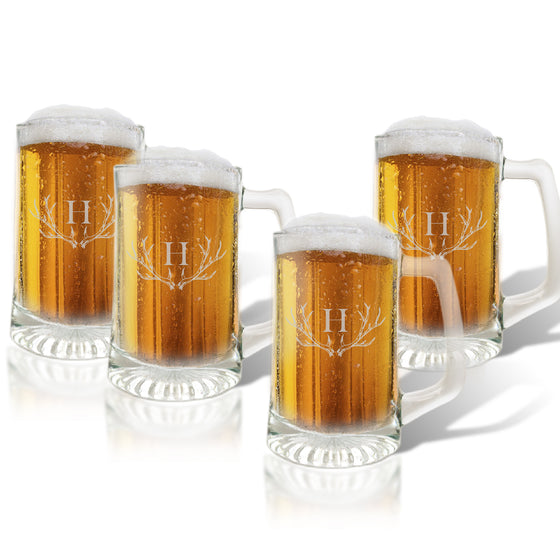Antler Initial Beer Mugs Gift Set - Premier Home & Gifts