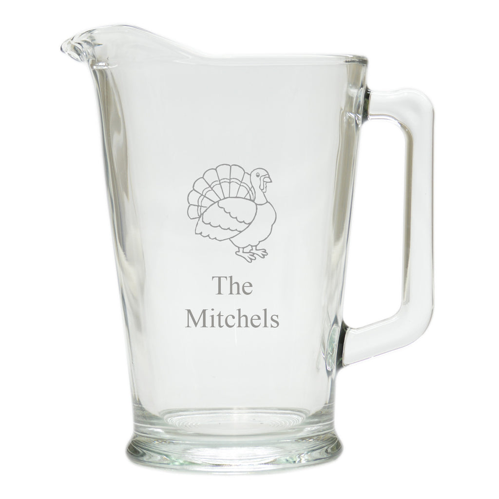 Turkey Glass Pitcher ~ Personalized