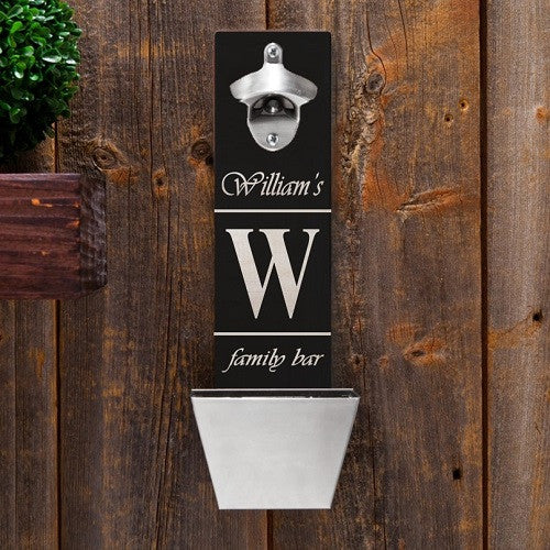 Family Bar Bottle Opener & Cap Catcher - Personalized
