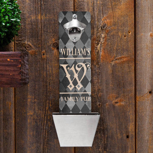 Argyle Bottle Opener & Cap Catcher - Personalized