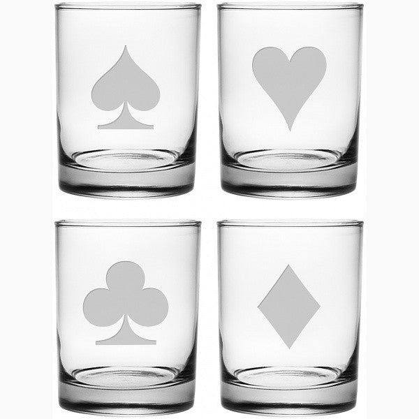 Poker Suits Double Old Fashioned Glasses - Set of 4