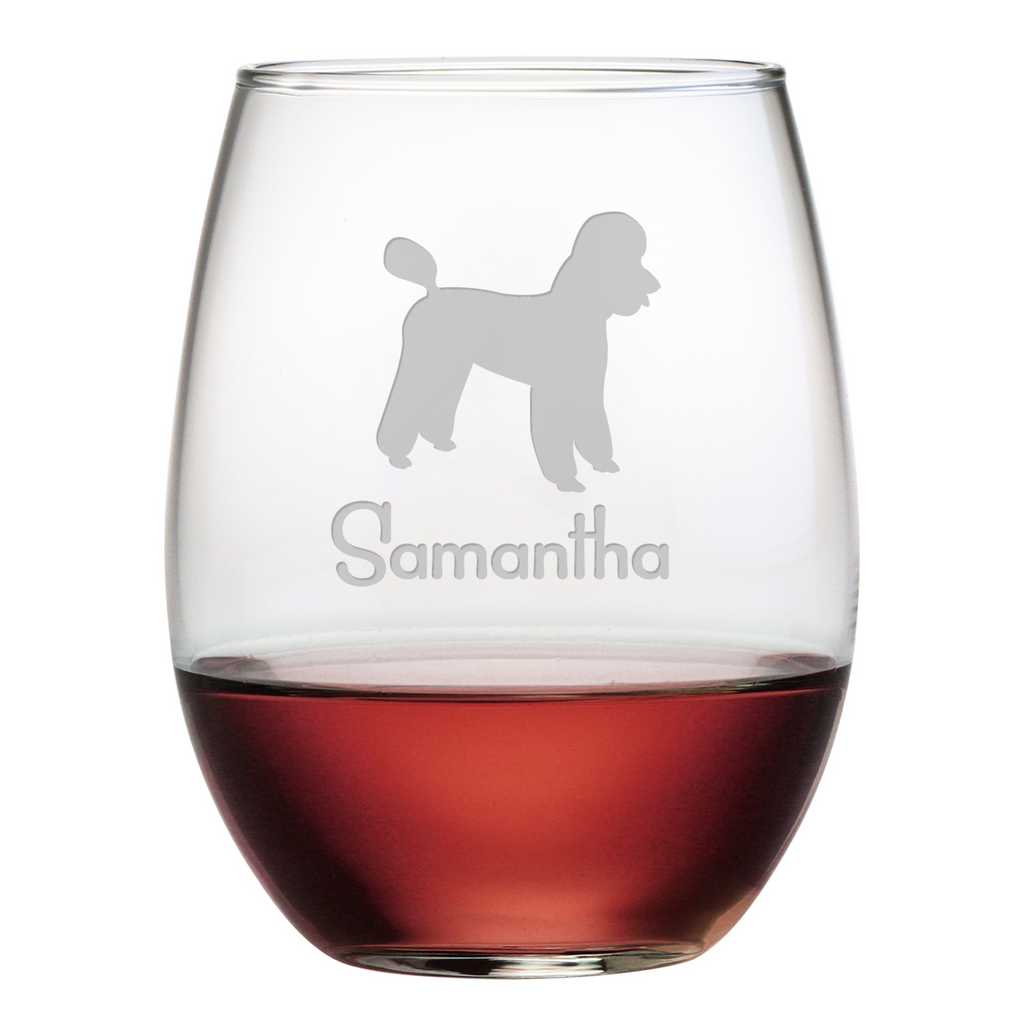 Poodle Stemless Wine Glasses ~ Set of 4 ~ Personalized - Premier Home & Gifts