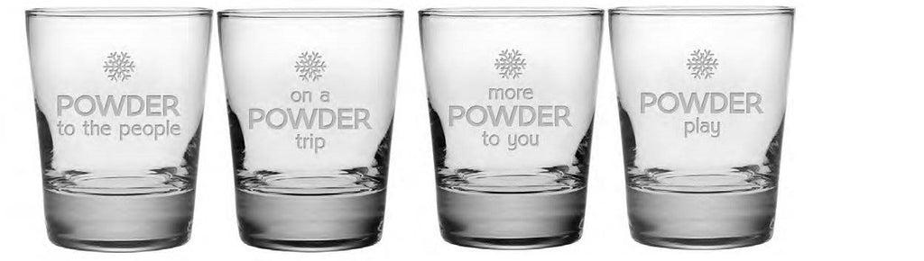 Powder Play Double Old Fashioned Glasses ~ Set of 4