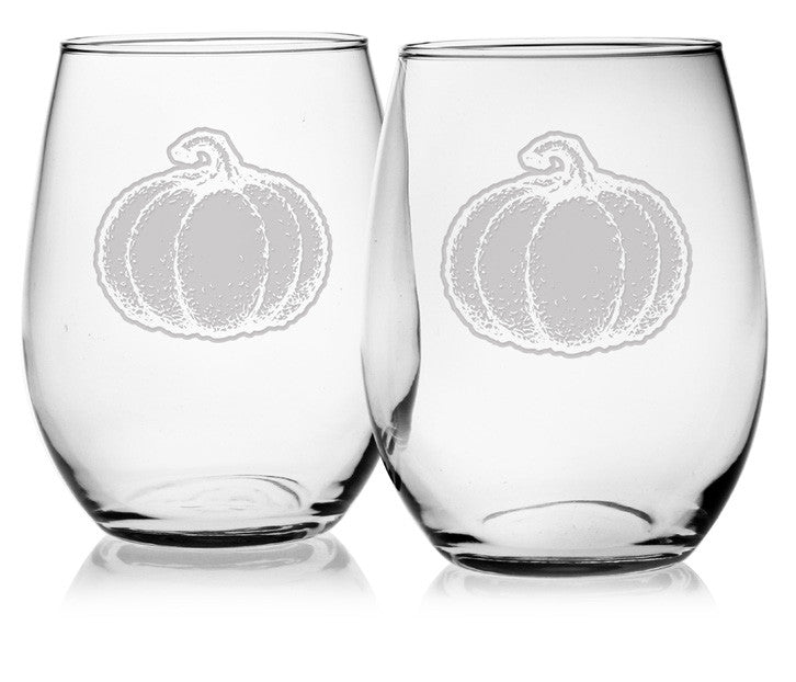 Pumpkin Stemless Wine Glasses ~ Set of 4
