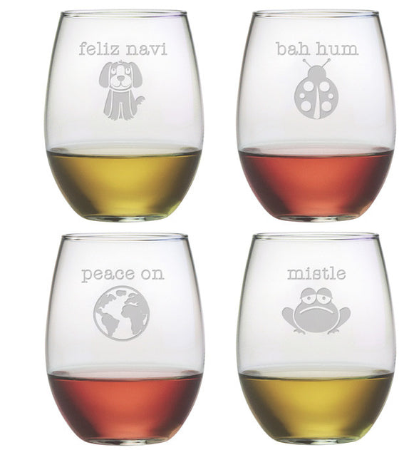 Punny Christmas Assortment ~ Stemless Wine Glasses ~ Set of 4