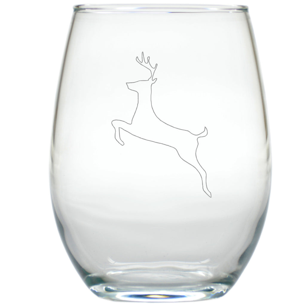 Reindeer ~ Stemless Wine Glasses ~ Set of 4