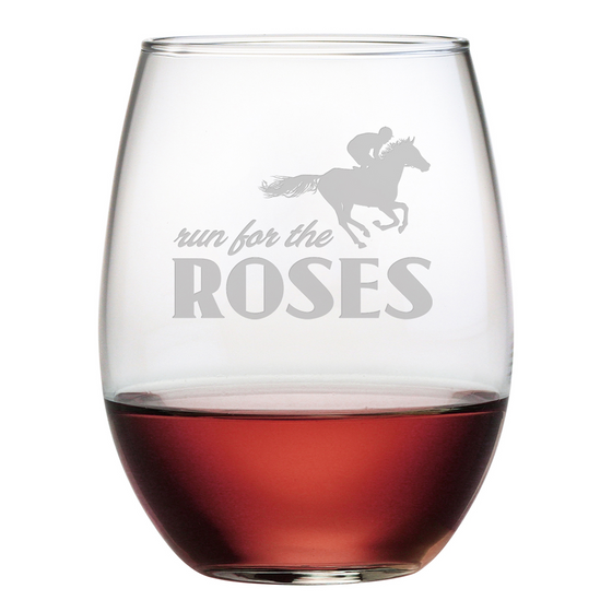 Run For The Roses Stemless Wine Glasses