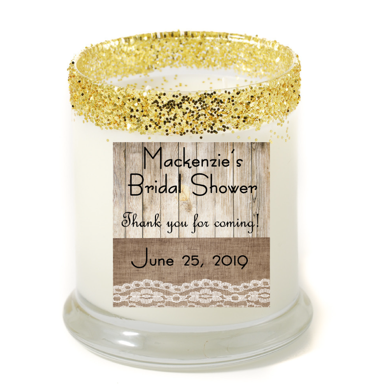 Rustic Bridal Shower Party Favor Candle - Bridal Shower Favors - Premier Home & Gifts