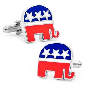 Republican Cufflinks and Tie Bar Gift Set