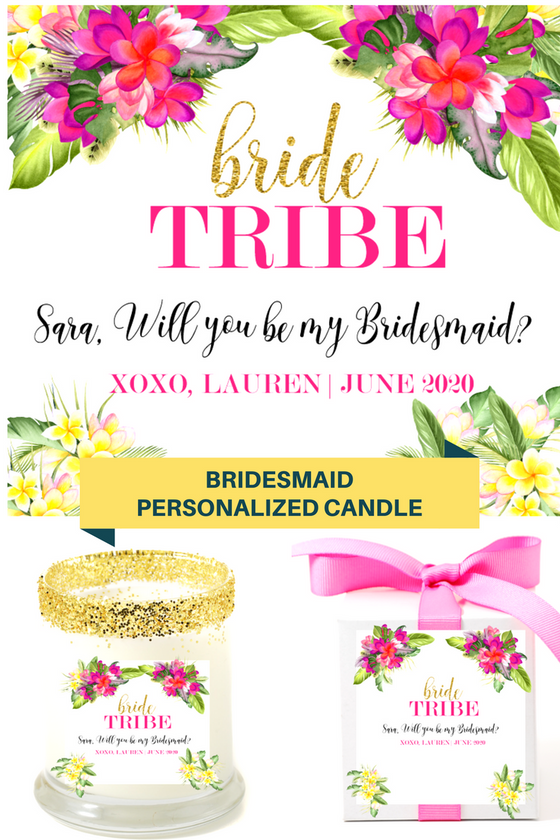 Bride Tribe Hibiscus Personalized Candle