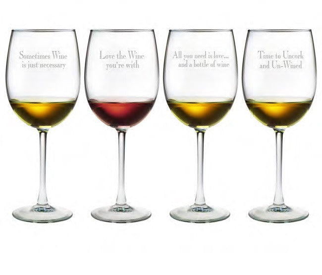 Say It With Wine ~ Wine Glasses ~ Set of 4