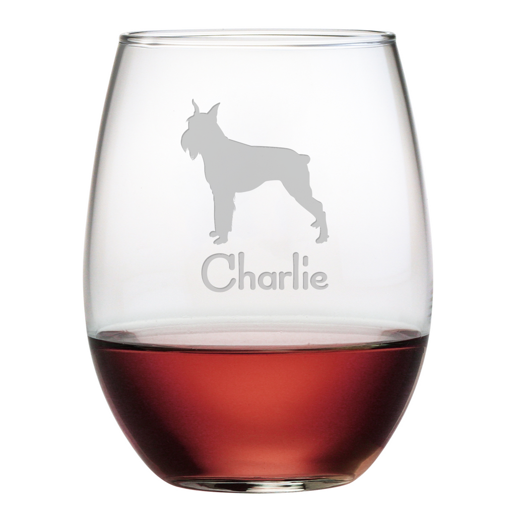 Schnauzer Stemless Wine Glasses ~ Set of 4 ~ Personalized - Premier Home & Gifts