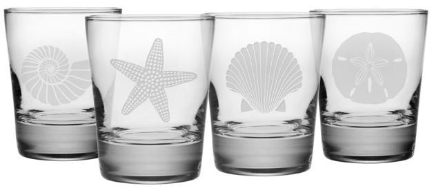 Seashore Double Old Fashioned Glasses ~ Set of 4