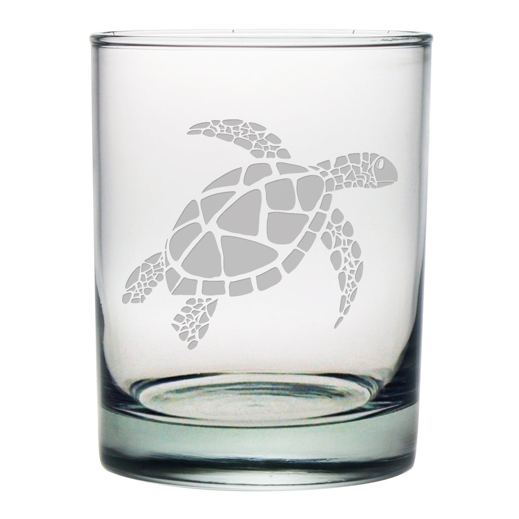 Sea Turtle Design Double Old Fashioned Glasses
