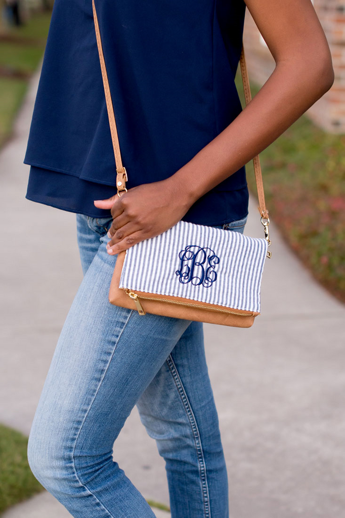 Seaside Seersucker Crossbody Bag - Navy
