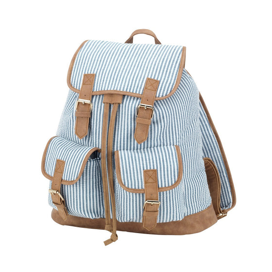 Seersucker Campus Personalized Backpack