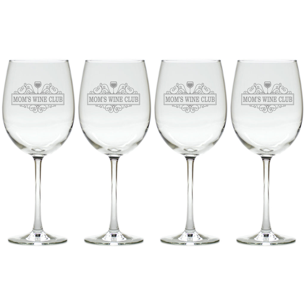 Mom's Wine Club Wine Glasses ~ Set of 4 - Premier Home & Gifts