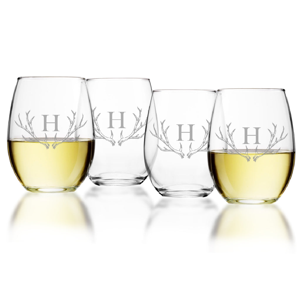 Antler Initial Stemless Wine Glasses ~ Barware - Premier Home & Gifts