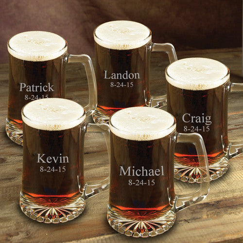 BIG Beer Mugs 25 Oz. ~ Set of 5 ~ Personalized