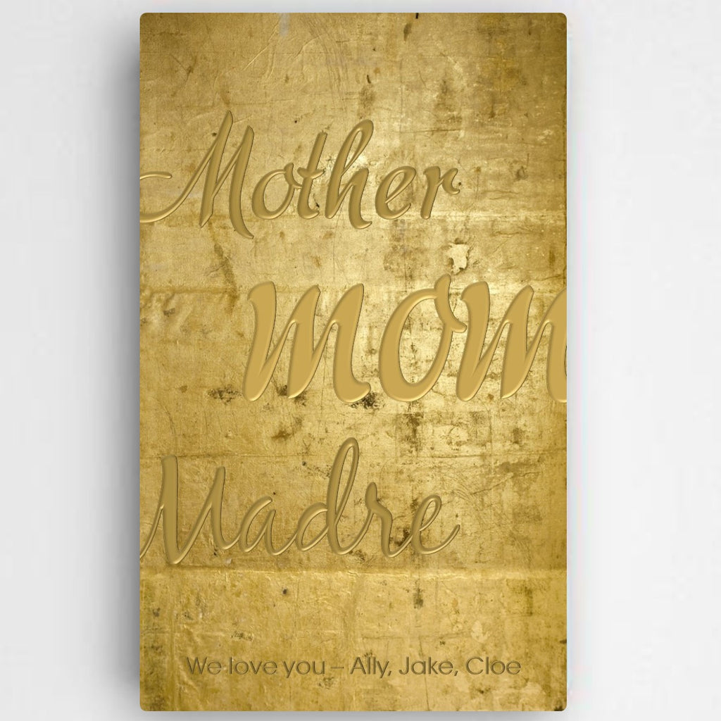 Mothers Gold Canvas Wall Art ~ Personalized