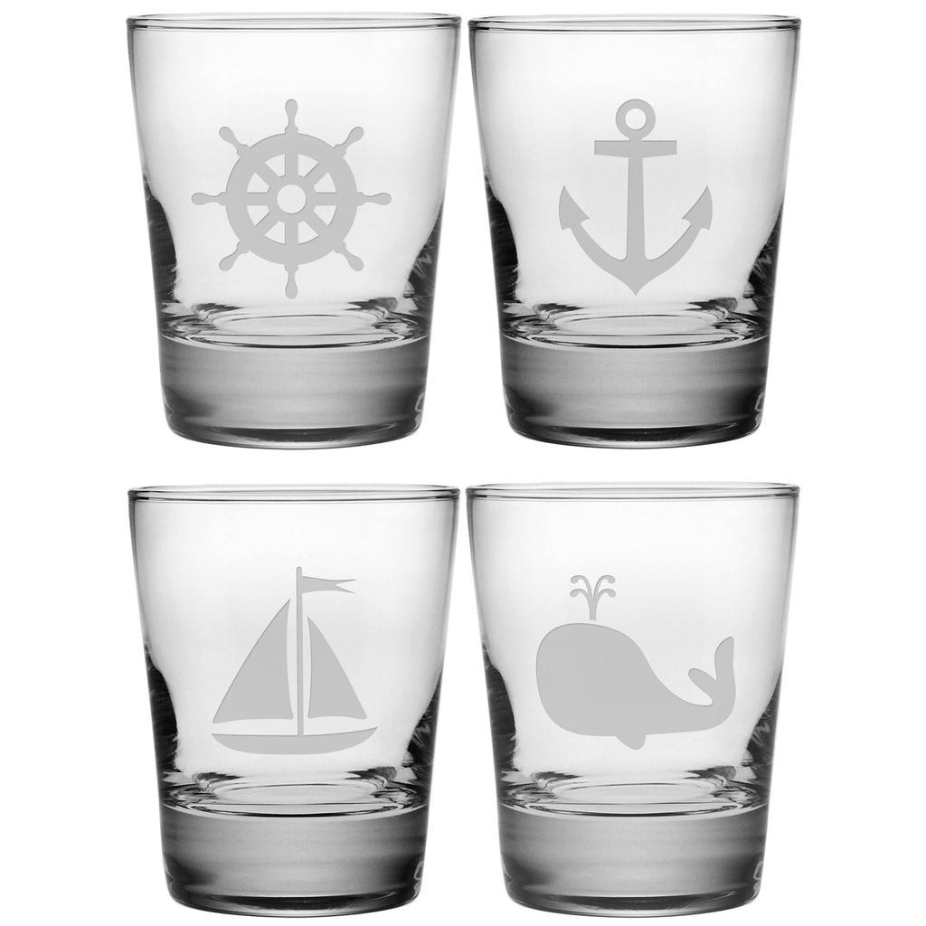 Nautical Icons Double Old Fashioned Glasses ~ Set of 4