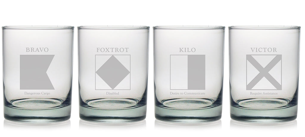 Signal Flags Double Old Fashioned Glasses