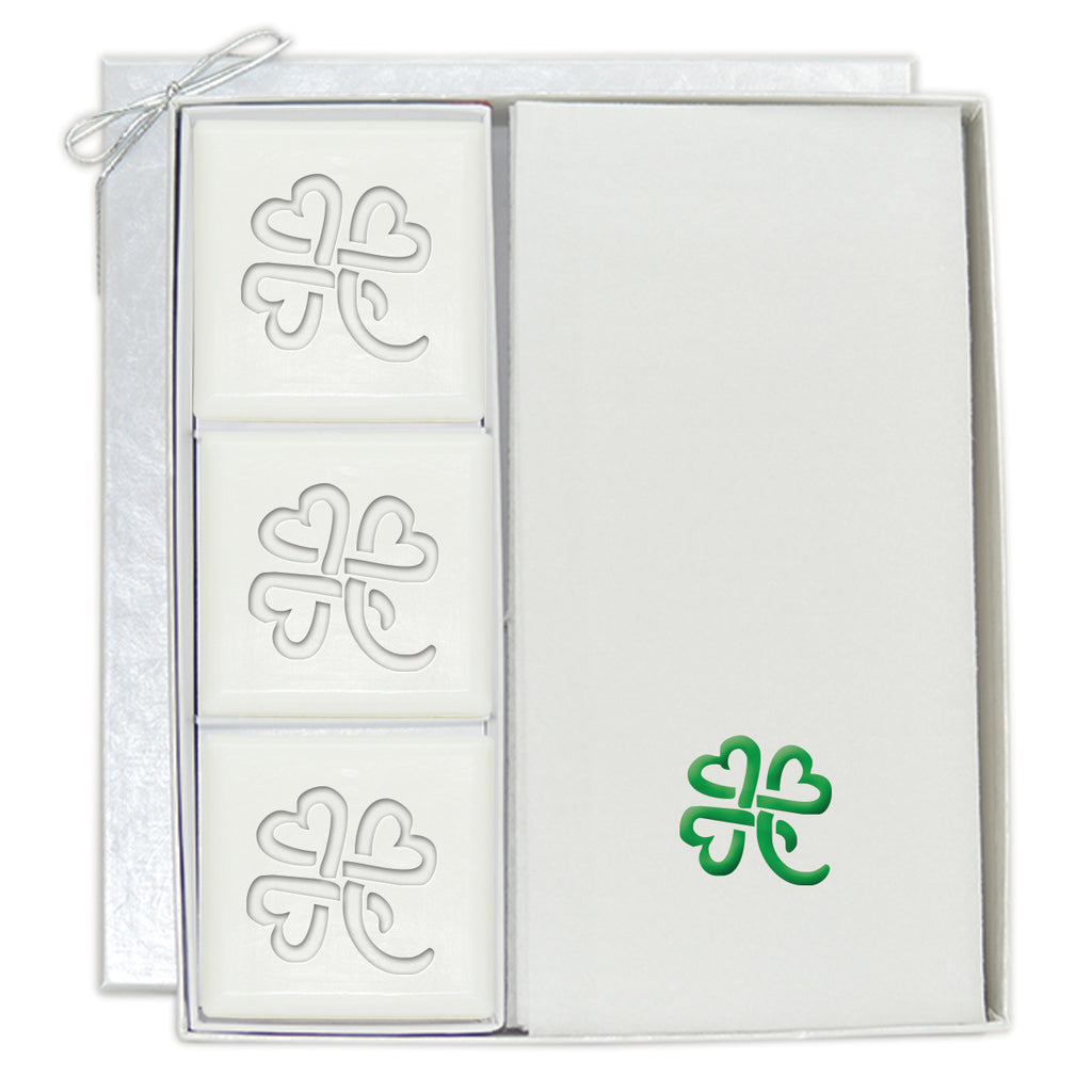Heart Clover Soaps & Embossed Towel Set