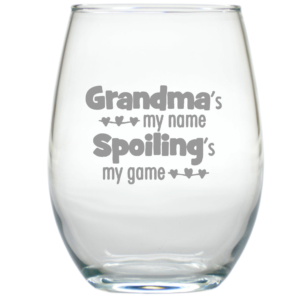 Grandma's My Name Stemless Wine Glass