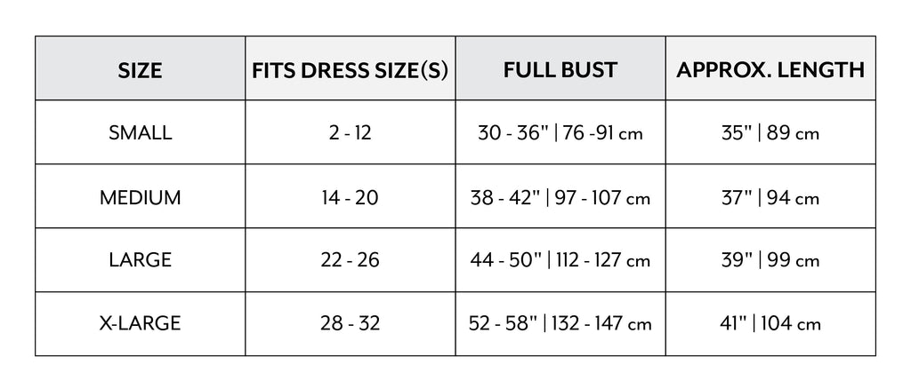 Sizing Chart for Silk Robe