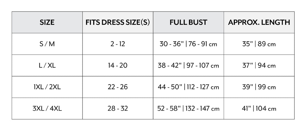 Sizing Chart for Silk Robes