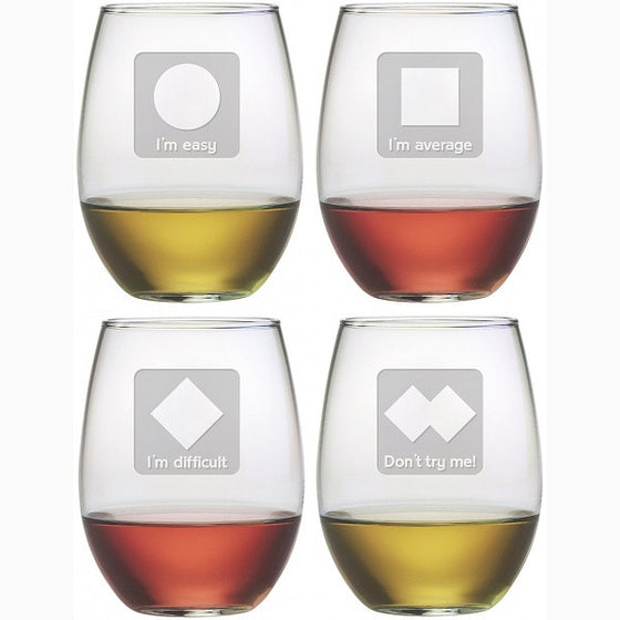 Spunky Ski Trails Stemless Wine Glasses ~ Set of 4