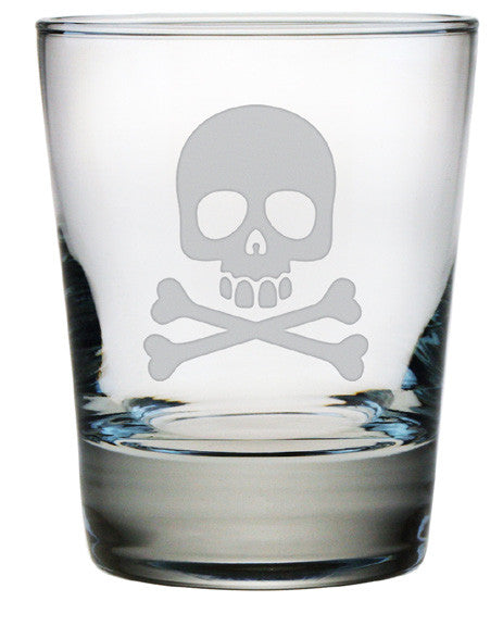 Skull and Crossbones Double Old Fashioned Glasses