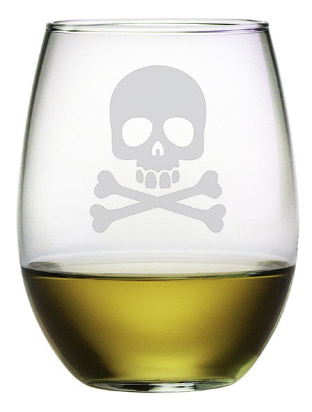 Skull & Crossbones Stemless Wine Glasses