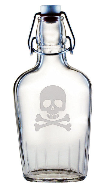Skull and Crossbones Glass Flask