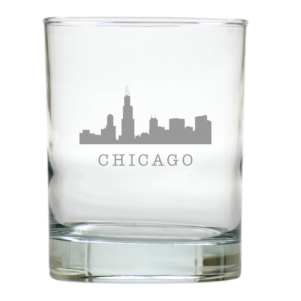 Chicago Skyline Double Old Fashioned Outdoor Glasses - Set of 4