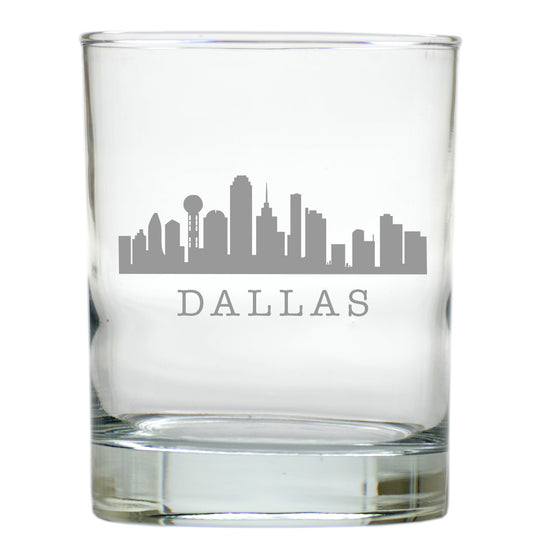 Dallas Skyline Double Old Fashioned Outdoor Glasses - Set of 4