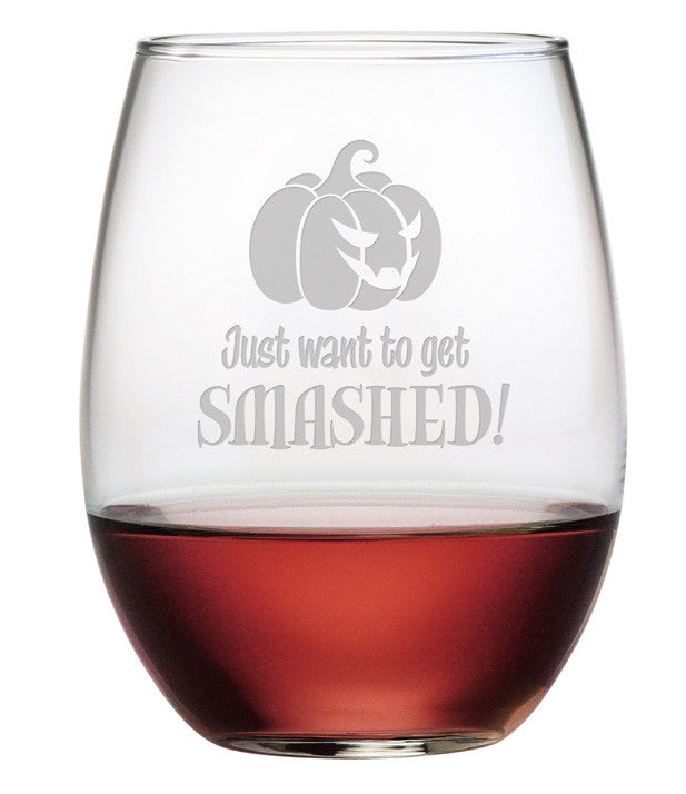 Get Smashed Stemless Wine Glasses ~ Set of 4