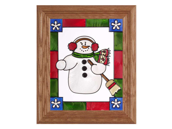 Happy Snowman Stained Glass Art