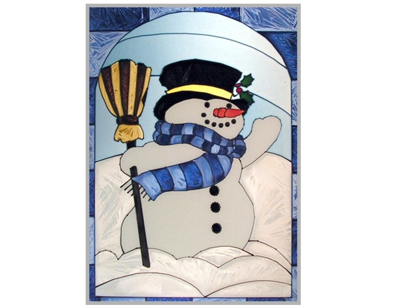 Snowman Stained Glass Art