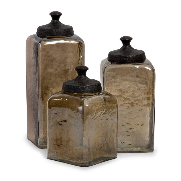 Square Brown Luster Canisters - Set of 3