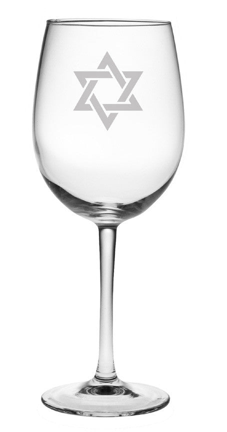 Star of David Wine Glasses ~ Set of 4