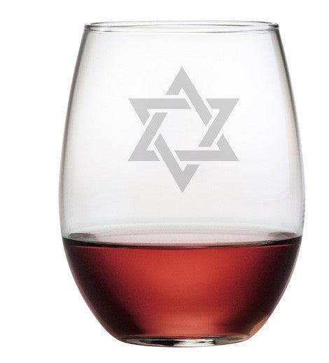 Star of David Stemless Wine Glasses ~ Set of 4
